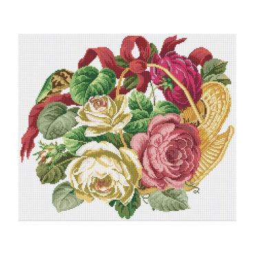 Алмазная вышивка Корзинка с розами