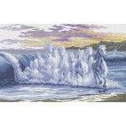Алмазная вышивка Волны скакуны