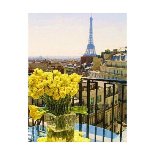 Алмазная вышивка Париж. Желтые розы
