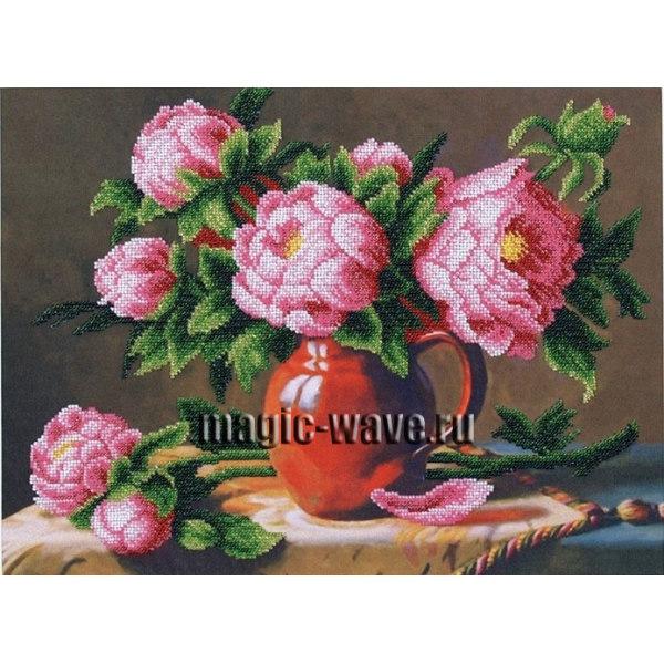 Вышивка бисером Розовые пионы