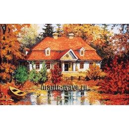 Вышивка бисером Дом у озера