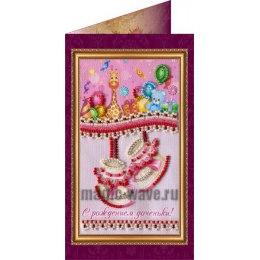 Вышивка бисером С рождением доченьки (открытка)