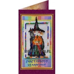 Вышивка бисером Счастливого Хэллоуина (открытка)