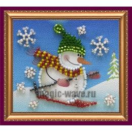 Вышивка бисером Магнит Снеговик-2