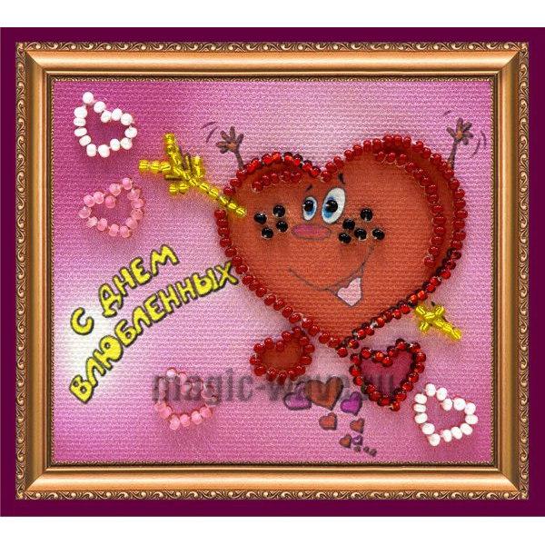 Вышивка бисером Магнит С Днем влюбленных-2