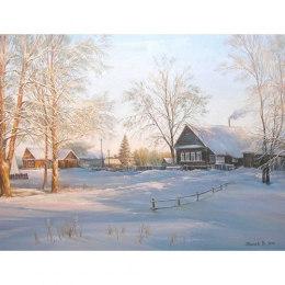 Алмазная вышивка Зима в деревне