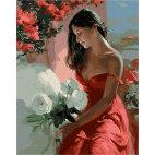 Девушка с белыми цветами