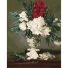 Белые и красные хризантемы