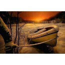 Алмазная вышивка Лодка в снегу