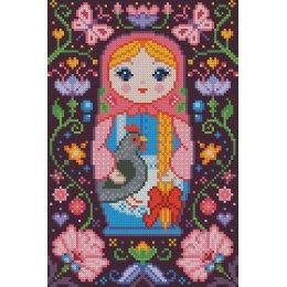 Алмазная вышивка Матрёшка с курочкой