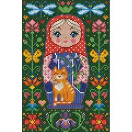 Алмазная вышивка Матрёшка с котиком