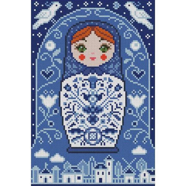 Алмазная вышивка Матрёшка Гжель