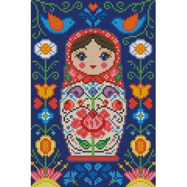 Алмазная вышивка Матрёшка в цветах