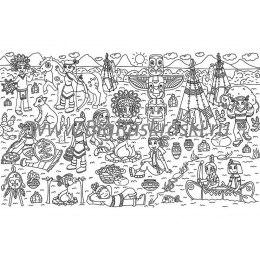 Плакат-раскраска «Жизнь индейцев» (60х100 см)