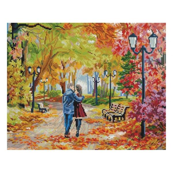 Алмазная вышивка Осенний парк, скамейка, двое