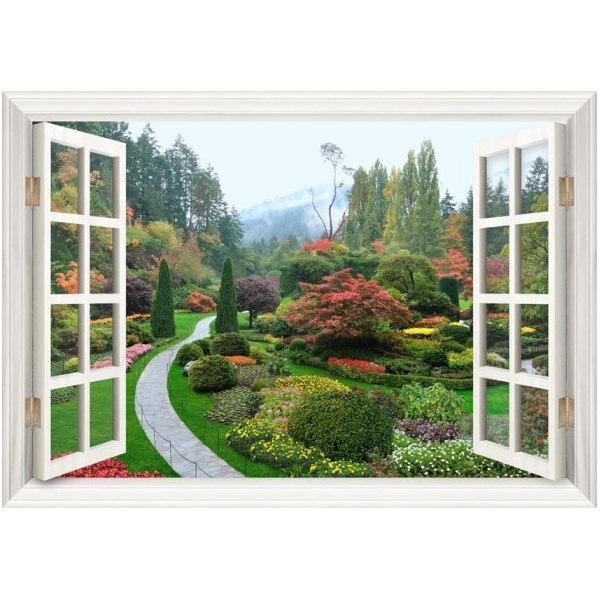 Алмазная вышивка Сад в окне