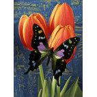 Алмазная вышивка Бабочка на тюльпанах