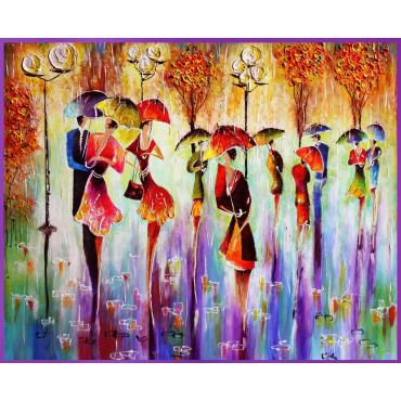 Картина по номерам «Счастливые зонты»