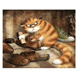 Алмазная вышивка «Кот чистит ботинки»