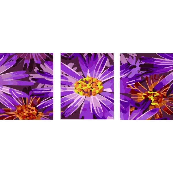 Фиолетовые ромашки «Триптих на холсте»