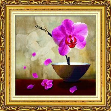 Алмазная вышивка Цветок орхидеи