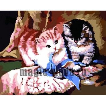 Алмазная вышивка Игра котят
