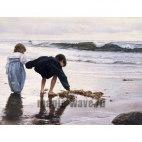Алмазная вышивка Дети у моря