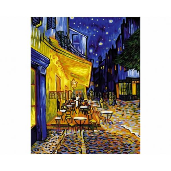 """Раскраска по номерам: репродукция Ван Гога """"Ночное кафе ..."""