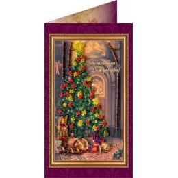 Вышивка бисером Счастливого Рождества (открытка)