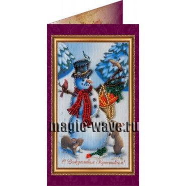 Вышивка бисером С Рождеством Христовым (открытка)