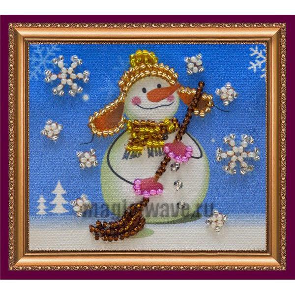 Вышивка бисером Магнит Снеговик