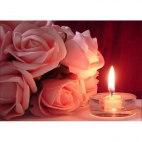Алмазная вышивка Розы и свечка
