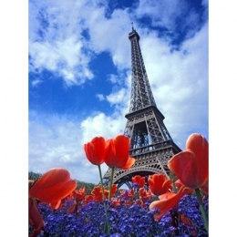 Алмазная вышивка Эйфелева башня и цветы