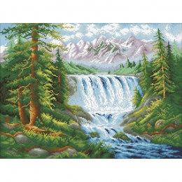 Алмазная вышивка Лесной водопад