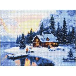 Алмазная вышивка Зимний домик у озера
