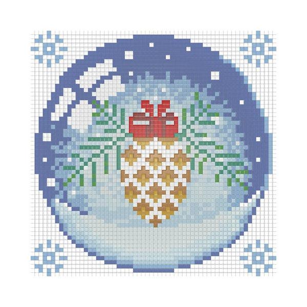 Алмазная вышивка Новогодний шарик с шишкой