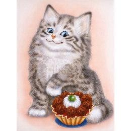 Алмазная вышивка Кот и пирожное
