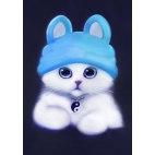 Алмазная вышивка Белый котик в шапочке
