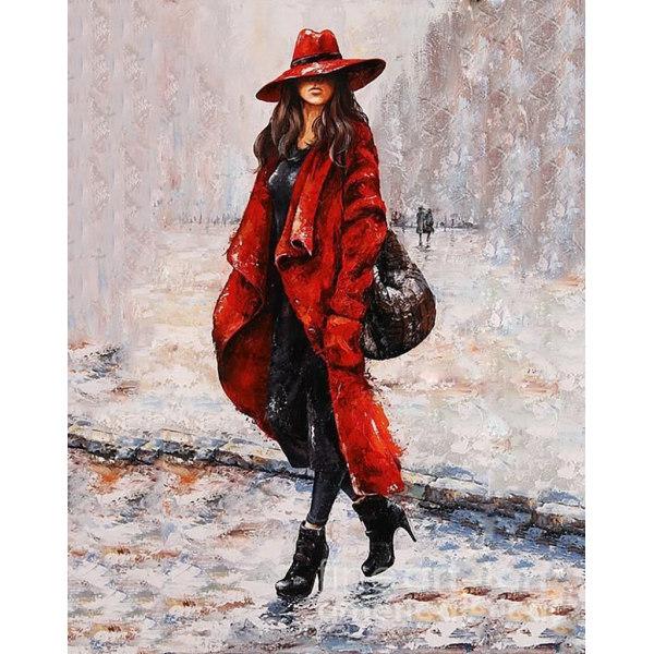 Алмазная вышивка Девушка в красном