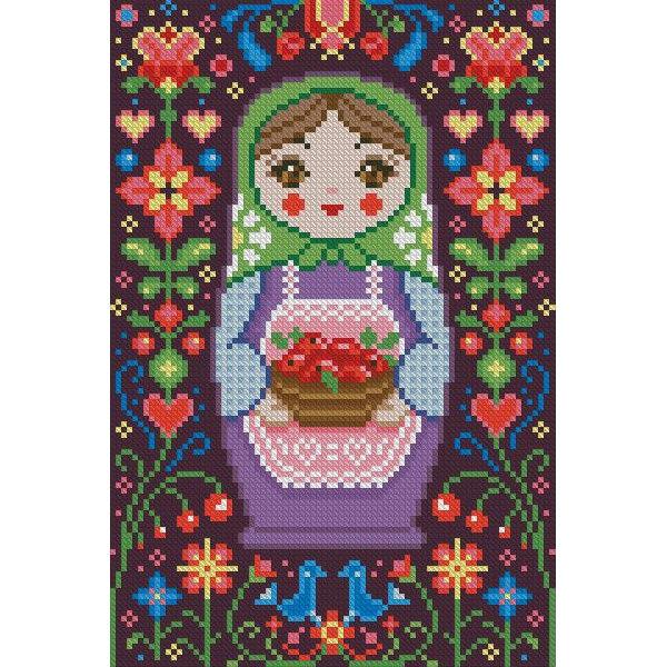 Алмазная вышивка Матрёшка с яблоками