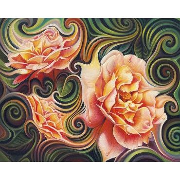 Алмазная вышивка Розы в абстракции