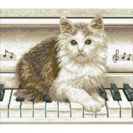 Алмазная вышивка Котёнок на пианино