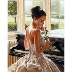 Алмазная вышивка Пианистка с розой