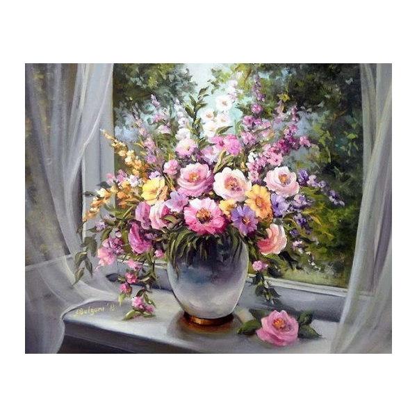 Алмазная вышивка Цветы на подоконнике
