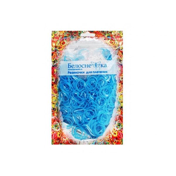 Резинки для плетения голубой металлик