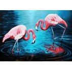 Алмазная вышивка Фламинго на озере