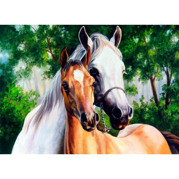 Две лошади (картина стразами)