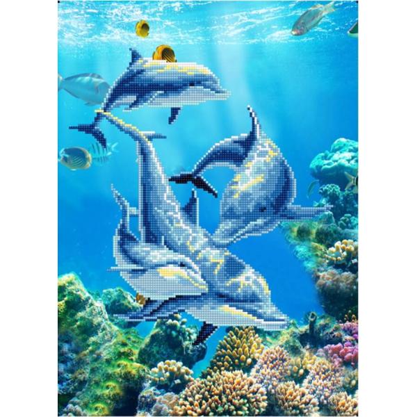 Дельфин (картина стразами)