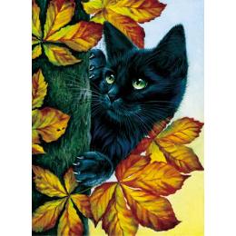 Черный кот (картина стразами)
